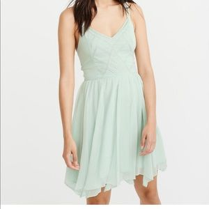 A&F MINT  BEADED CHIFFON SKATER DRESS